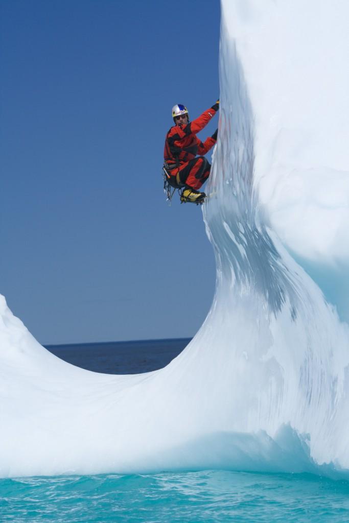 """AWEBERG"" Will Gadd Ice climbing icebergs in Makkovik, Labrador Canada July,  2005"