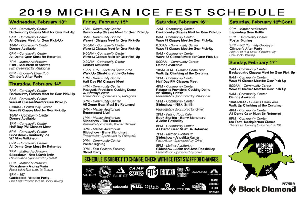 Michigan Ice Fest Schedule!